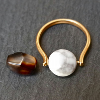 Gemstone Ring - interchangeble Agate & Magnesite