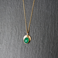 Vermeil 925 Sterling Silver Necklace - Green Onyx