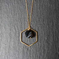 Vermeil 925 Sterling Silver Necklace - Hexagon Agate black banded