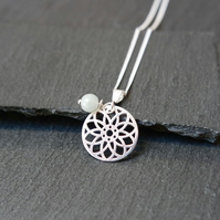 925 Sterling Silver Mandala Necklace Burma Jade