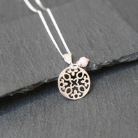 Sterling Silver Flower Mandala Necklace - Peruvian Pink Opal