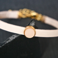 Leather bracelet - rose gold cream beige