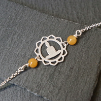 Sterling Silver Buddha Bracelet - Jade orange-yellow