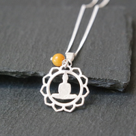 Sterling Silver Buddha Mandala Necklace - Jade orange yellow
