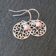 925 Sterling SilverFlower Mandala Earrings - Peruvian Pink Opal