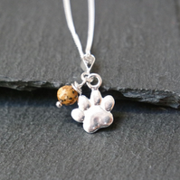 Sterling Silver Necklace - Dog Paw Jasper Gemstone colour of your dog