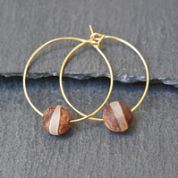Gold Plated Tibetan Bead Hoops beige brown