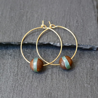Gold Plated Tibetan Bead Hoops green beige brown
