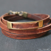 Leather wrap bracelet - rectangular brown bronze