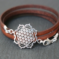 Sterling Silver Flower of Life Mandala Leather Wrap Bracelet