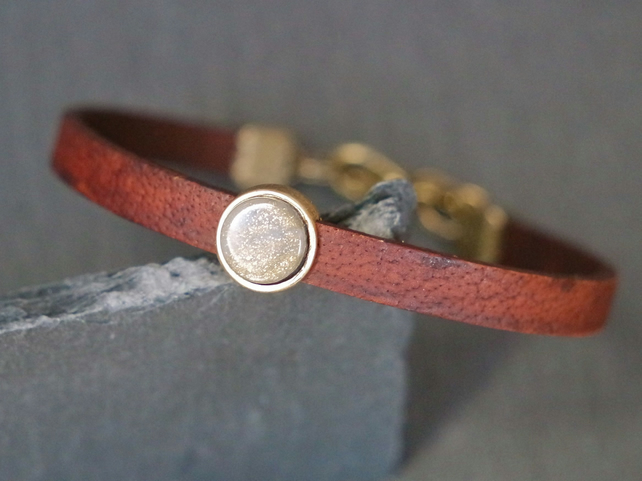 Leather bracelet - stardust grey gold shimmer antique gold