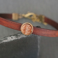 Leather bracelet - maroon shimmer antique gold
