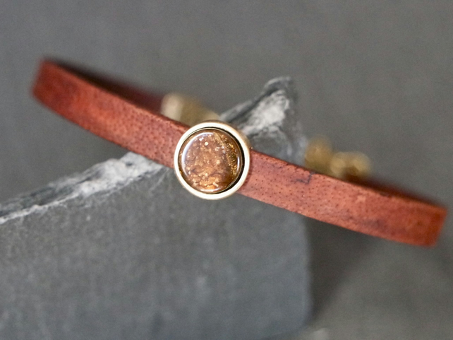 Leather bracelet - cappuccino shimmer antique gold