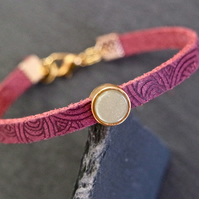 Leather bracelet - Mandala grape bordeaux olive goldplated