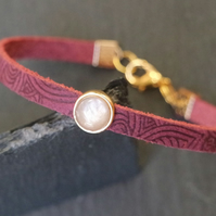 Leather bracelet - Mandala grape burgundy ice-grey goldplated