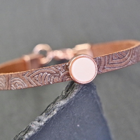 Leather bracelet - Mandala rose gold plated vanilla beige