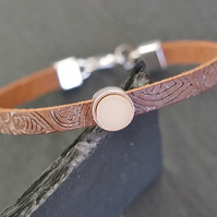 Leather bracelet - Mandala silver plated vanilla beige