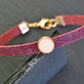 Leather bracelet - Mandala grape burgundy vanilla cream gold plated