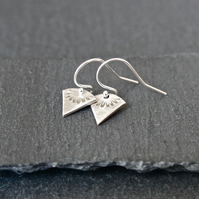 Fine Silver Earrings - Heirloom Collection triangle little flowers