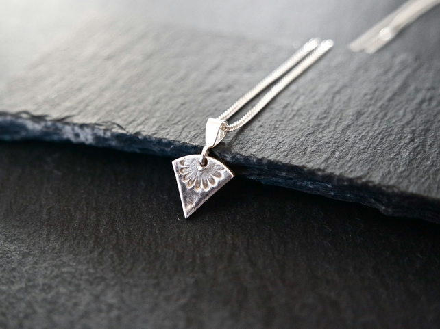 Fine Silver Necklace - Heirloom Collection triangle little flower