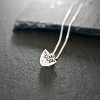 Fine Silver Necklace - Heirloom Collection semicircle little flower