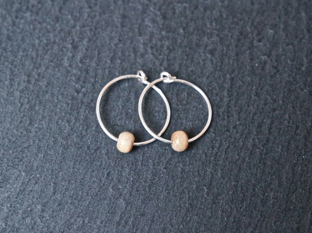 Sterling Silver Hoops - Small Wooden Beads
