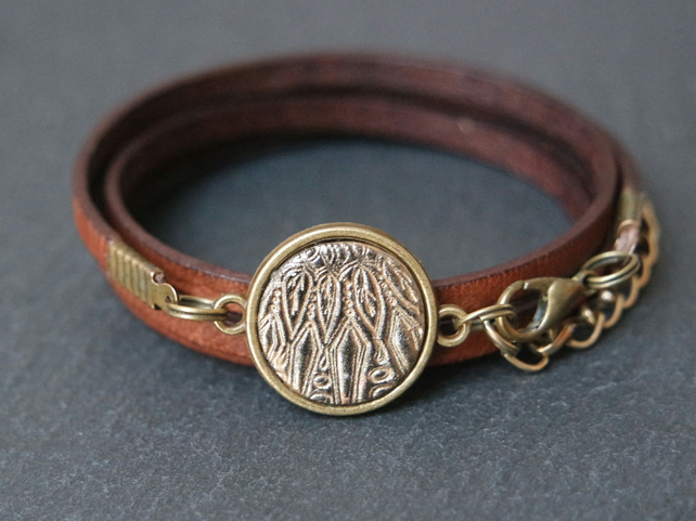 Leather bracelet - mandala dreamcatcher black bronze brown