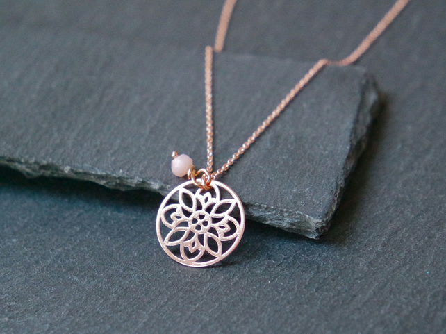 925 Sterling Silver Flower Mandala Necklace - Rose Gold Plated Opal