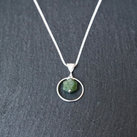 Sterling Silver Necklace -  Moss Agate Silver Ring