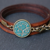 Leather bracelet - mandala floral lines turquoise brown