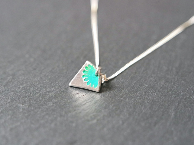 Fine Silver Necklace - Heirloom Collection triangle flower turquoise green