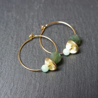 Floral Gemstone Hoops Moss Agate Quartz green turquoise gold
