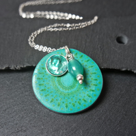 Mandala Abalone Sterling Silver Necklace - turquoise green