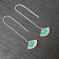 Fine Silver Threader Earrings - Triangle flowers turquoise