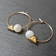 Hoops - gold filled minimalistic geometric mother of pearl