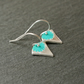 Fine Silver Earrings - Triangle flowers turquoise