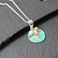 Fine Silver Necklace - Heirloom Collection Mandala Quartz turquoise pastell