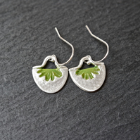 Fine Silver Earrings - semicircle flowers olive green