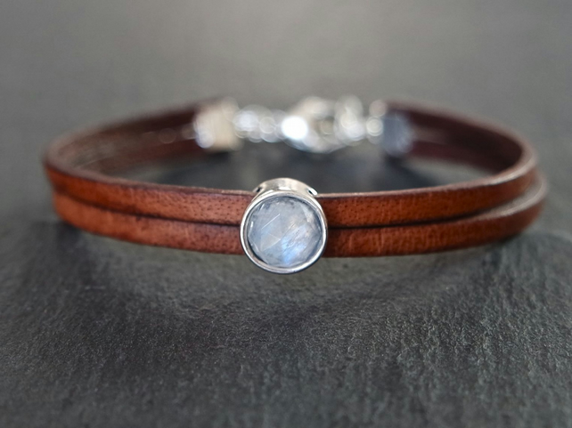 Moonstone 925 Sterling Silver Leather bracelet