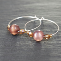 Sterling Silver Hoops - brown nude lustrous shimmer