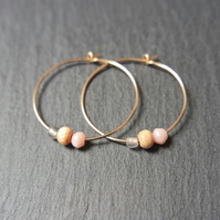 Gold Filled Hoops - Pink Opal, Labradorite, Wood