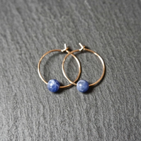 Gold Filled Hoops - Sodalite blue-white
