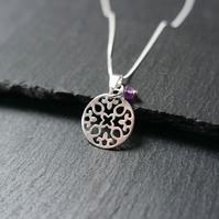 Amethyst Sterling Silver Flower Mandala Necklace