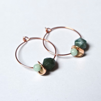 Floral Gemstone Hoops - rose gold Quartz green turquoise