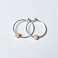 Sterling Silver Hoops - Peruvian Pink Opal Beads