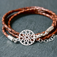 Sterling Silver Mandala - Braided Leather Wrap Bracelet