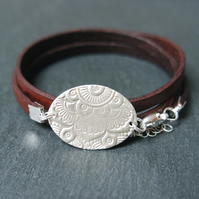 Sterling Silver Mandala Owl - Leather Wrap Bracelet