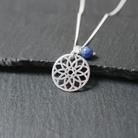 925 Sterling Silver Mandala Necklace Sodalite blue