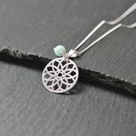 925 Sterling Silver Mandala Necklace Quartz turquoise