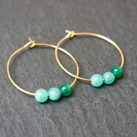 Gemstone Hoops - quartz onyx